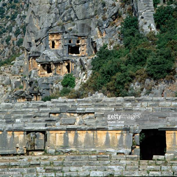 lycian rock tombs - ancient greece photos stock pictures, royalty-free photos & images