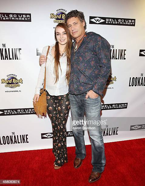 Lyda Loudon and Steven Bauer attend The Lookalike red carpet premiere at Hard Rock Live in the Seminole Hard Rock Hotel Casino on October 29 2014 in...
