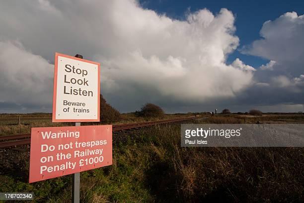 Lydd, Kent. Approaching Dengemarsh Sewer on the Lydd & New Romney Branch Line as it crosses Denge Marsh.