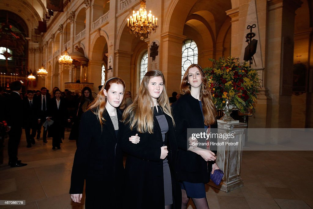 Lydia Athenais d'Arenberg, Dorothee Anastajia d'Arenberg and Alienor d'Arenberg attend the mass given in memory of the 100 year anniversary of Prince Ernest Charles D'Arenberg's death in the First World War at Les Invalides on March 20, 2015 in Paris, France.