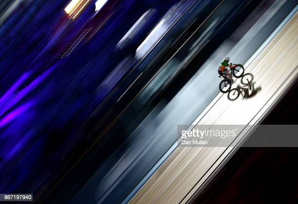 Lydia Boylan of Ireland competes in the Womens 10km Scratch Race on day four of the London Six Day Race at the Lee Valley Velopark Velodrome on...