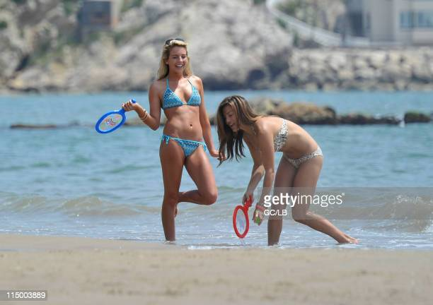 Lydia Bright and friend seen playing tennis on the beach whilst on holiday in Barcelona Spain on May 12 2011
