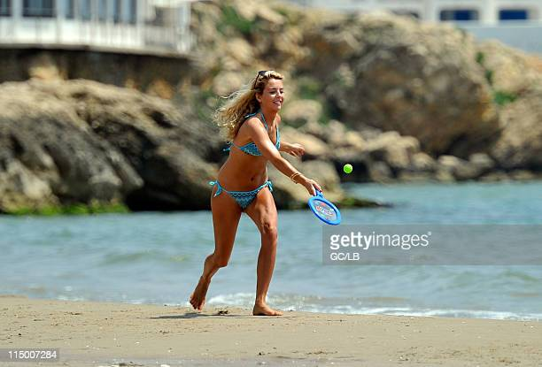 Lydia Bright is seen playing tennis on the beach whilst on holiday in Barcelona Spain on May 12 2011