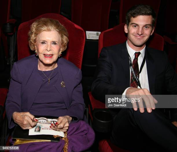Lydia Clarke wife of Charlton Heston and her grandson Jack Heston at the dedication of the Charlton Heston forever stamp at the TCM Classic Film...