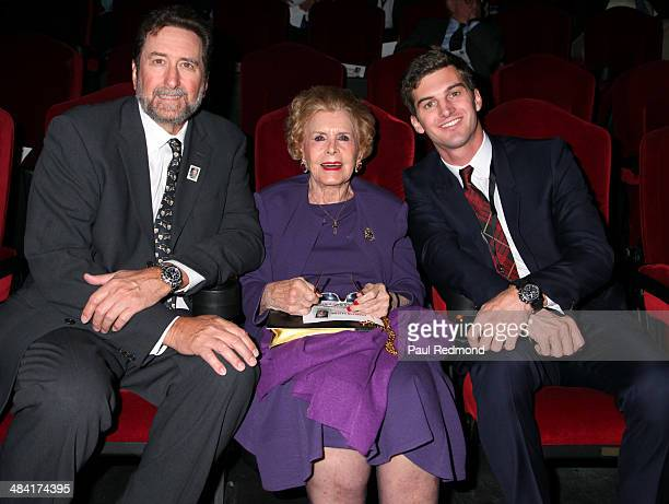 Lydia Clarke wife of Charlton Heston with her son Director Fraser Clarke Heston and her grandson director Jack Heston attend the Dedication Ceremony...