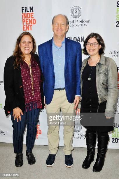 Lydia Dean Pilcher Vice President of the Alfred P Sloan Foundation Doron Weber and Ginny Mohler attend Sloan Film Summit 2017 Day 3 on October 29...