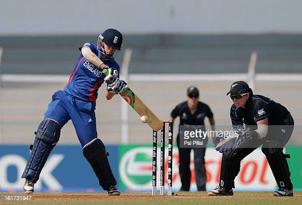 Lydia Greenway of England bats during the 3rd/4th Place PlayOff game between England and New Zealand held at the CCI ground on February 15 2013 in...