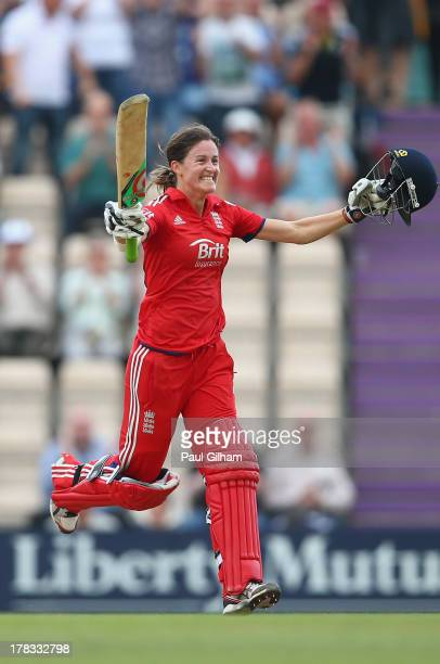 Lydia Greenway of England celebrates making the winning runs for England to ensure England retain the Ashes during the 2nd England NatWest T20 match...