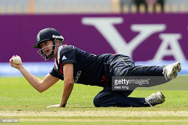 Lydia Greenway of England takes a catch to dismiss Sana Mir of Pakistan off the bowling of Laura Marsh of England during the ICC Women's World Cup...