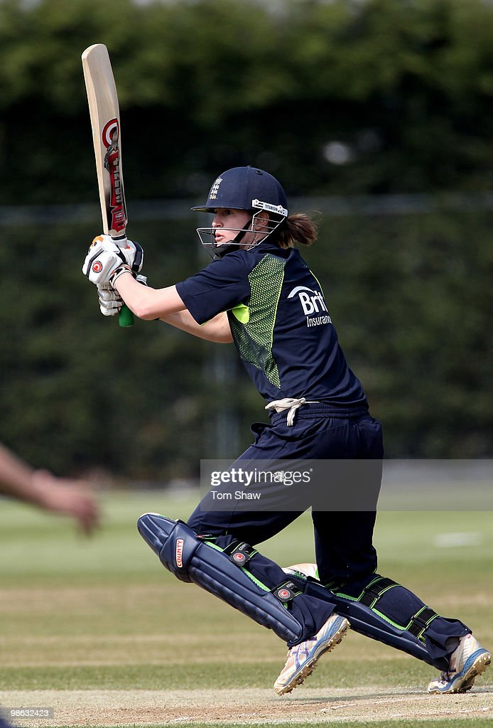 Lydia Greenway of England warms up during the England Women's Cricket Team training session at the ECB Academy on April 23, 2010 in Loughborough, England.