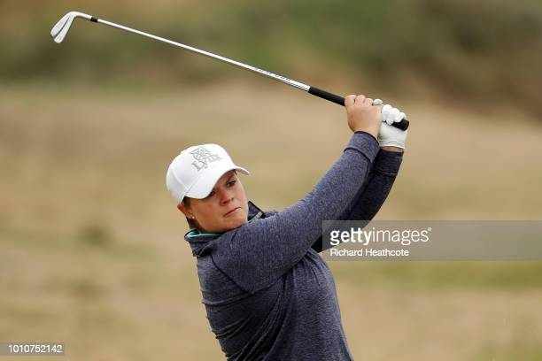 Lydia Hall of Wales plays her second shot on the 4th hole during day three of Ricoh Women's British Open at Royal Lytham & St. Annes on August 4,...
