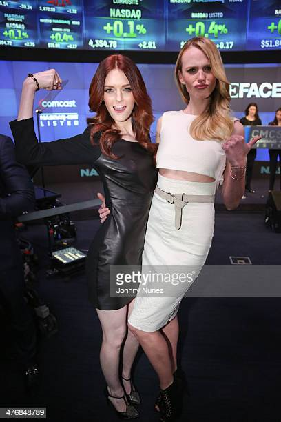 Lydia Hearst and Anne Vyalitsyna ring the closing bell at the NASDAQ MarketSite on March 5 2014 in New York City