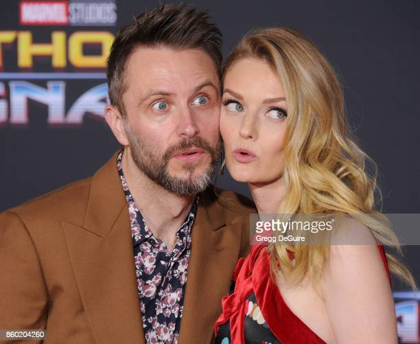 Lydia Hearst and Chris Hardwick arrive at the premiere of Disney and Marvel's 'Thor Ragnarok' at the El Capitan Theatre on October 10 2017 in Los...