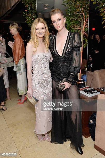 Lydia Hearst and Ireland Baldwin attend Harper's BAZAAR celebration of the 150 Most Fashionable Women presented by TUMI in partnership with American...
