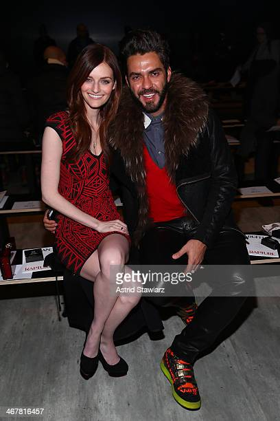 Lydia Hearst and Lorenzo Martone attend the Ruffian fashion show during Mercedes-Benz Fashion Week Fall 2014 at The Pavilion at Lincoln Center on...