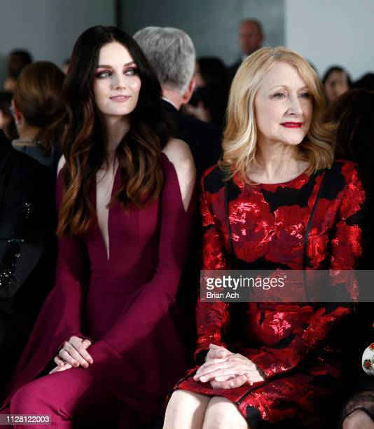 Lydia Hearst and Patricia Clarkson are seen during the Pamella Roland fashion show at Pier 59 on February 07 2019 in New York City