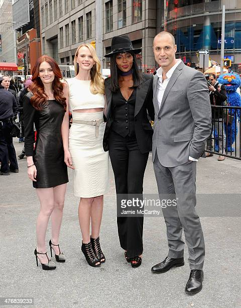 Lydia Hearst Anne V Naomi Campbell and Nigel Barker attend the ringing of the closing bell at NASDAQ MarketSite on March 5 2014 in New York City