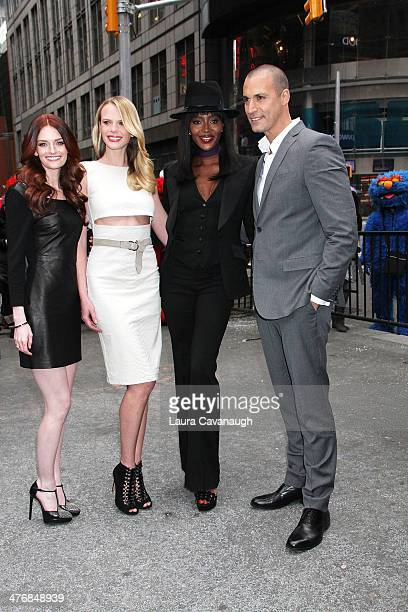 Lydia Hearst Anne V Naomi Campbell and Nigel Barker ring the Closing Bell at NASDAQ MarketSite on March 5 2014 in New York City