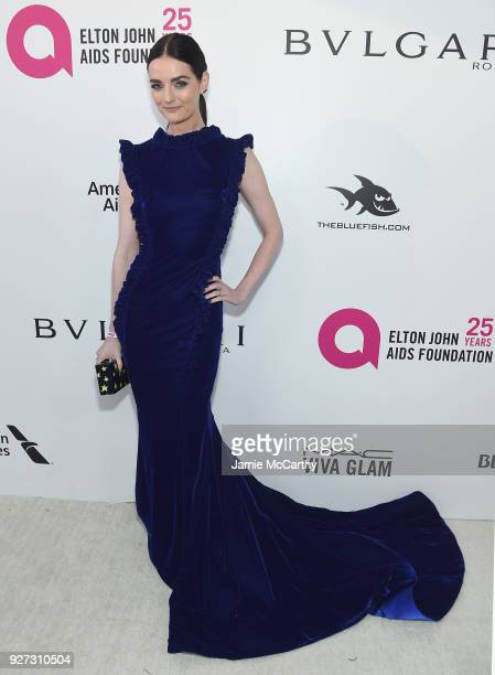 Lydia Hearst attends the 26th annual Elton John AIDS Foundation Academy Awards Viewing Party sponsored by Bulgari celebrating EJAF and the 90th...
