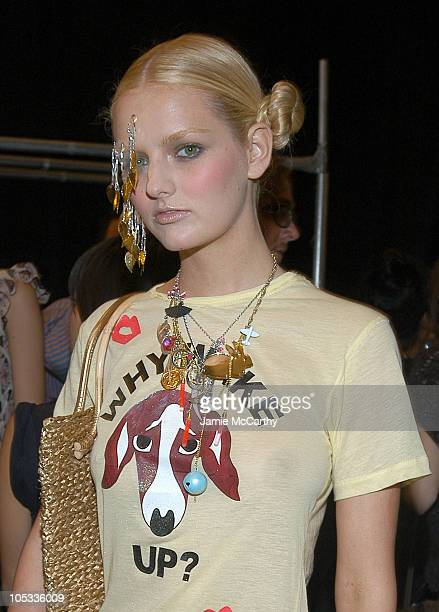 Lydia Hearst wearing Heatherette during Olympus Fashion Week Spring 2005 Heatherette Backstage at Theater Tent Bryant Park in New York City New York...