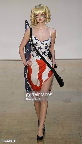 Lydia Hearst wearing Jeremy Scott Spring 2007 during Olympus Fashion Week Spring 2007 Jeremy Scott Runway at The Altman Building in New York City New...