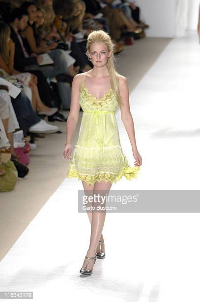 Lydia Hearst wearing Tracy Reese Spring 2006 during Olympus Fashion Week Spring 2006 Tracy Reese Runway at Bryant Park in New York City New York...