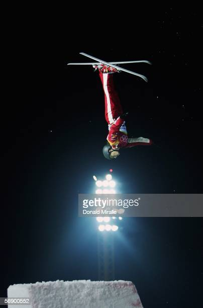 Lydia Ierodiaconou of Australia competes in the Womens Freestyle Skiing Aerials Qualifying on Day 11 of the 2006 Turin Winter Olympic Games on...