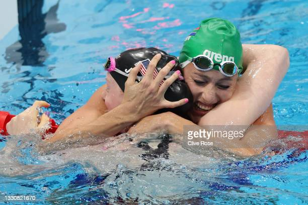Lydia Jacoby of Team United States and Tatjana Schoenmaker of Team South Africa celebrates after winning the gold and silver medals respectively in...