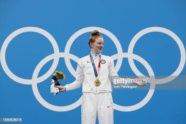 Lydia Jacoby of Team United States poses with the gold medal for the Women's 100m Breaststroke Final on day four of the Tokyo 2020 Olympic Games at...