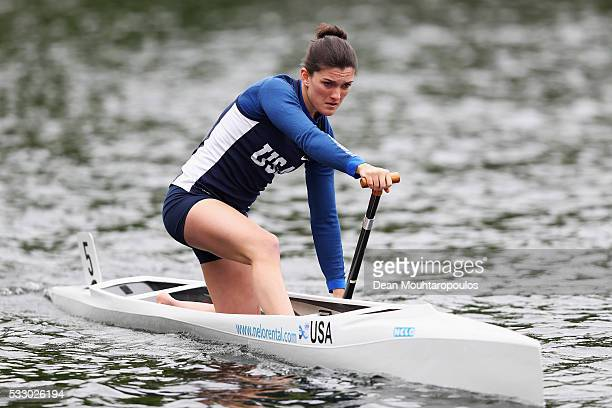 Lydia Keefe Sampson of the USA is pictured warming up during Day 1 of the ICF Canoe Sprint World Cup 1 held at Sportpark Regattabahn on May 20 2016...