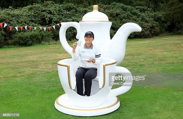 Lydia Ko of New Zealand attends a traditional English tea party hosted by Charley Hull of England at a photocall during a ProAm round ahead of the...
