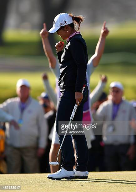 Lydia Ko of New Zealand celebrates after her final putt in the Final Round to win the Swinging Skirts LPGA Classic at the Lake Merced Golf Club on...