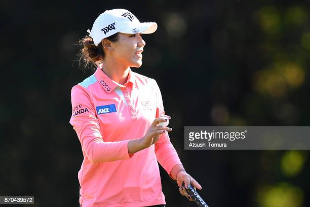 Lydia Ko of New Zealand celebrates after making her birdie putt on the 1st hole during the final round of the TOTO Japan Classics 2017 at the...