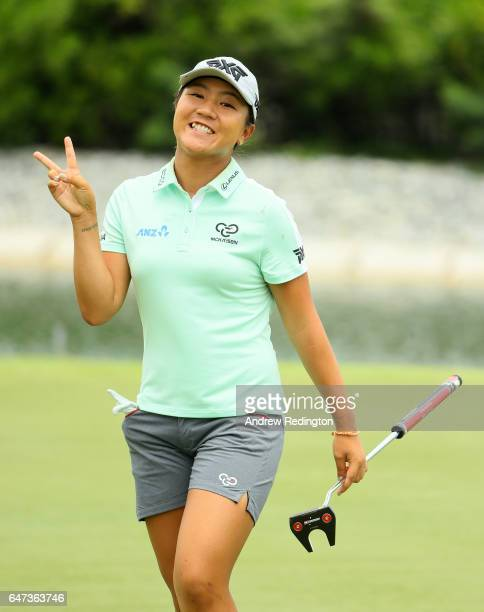 Lydia Ko of New Zealand celebrates her birdie on the 17th hole during the second round of the HSBC Women's Champions on the Tanjong Course at Sentosa...
