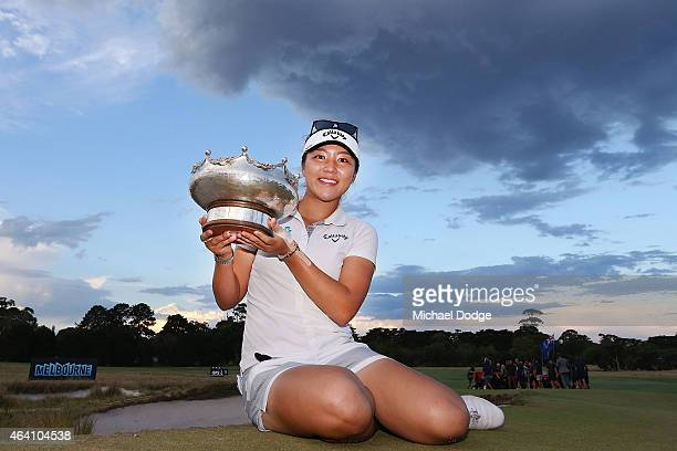 Lydia Ko of New Zealand celebrates victory and holds the Patricia Bridges Bowl trophy at the presentation during day four of the LPGA Australian Open...