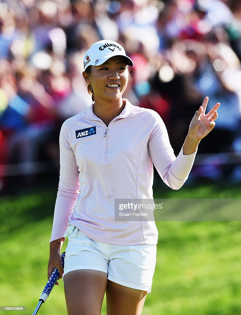 Lydia Ko of New Zealand celebrates winning on the 18th hole during the final round of the Evian Championship Golf on September 13, 2015 in Evian-les-Bains, France.