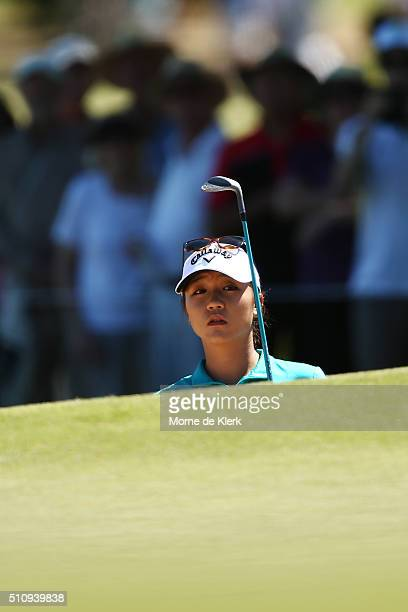 Lydia Ko of New Zealand competes during day one of the ISPS Handa Women's Australian Open at The Grange GC on February 18, 2016 in Adelaide,...