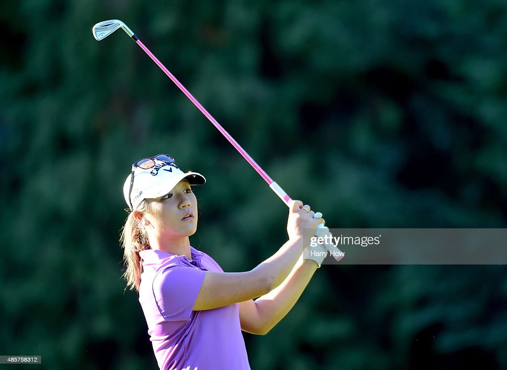 Lydia Ko of New Zealand hits a second shot on the 17th hole during the third round of the Canadian Pacific Women's Open at the Vancouver Golf Club on August 22, 2015 in Vancouver, Canada.