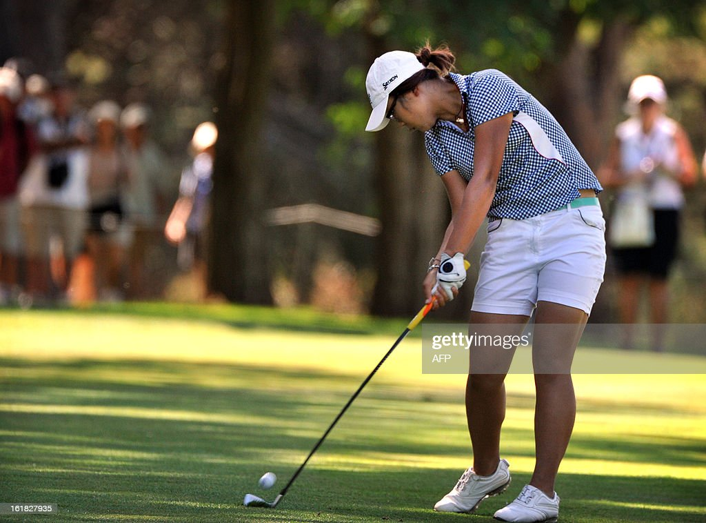 Lydia Ko of New Zealand hits a shot during the final round of the Women's Australian Open golf tournament in Canberra on February 17, 2013.