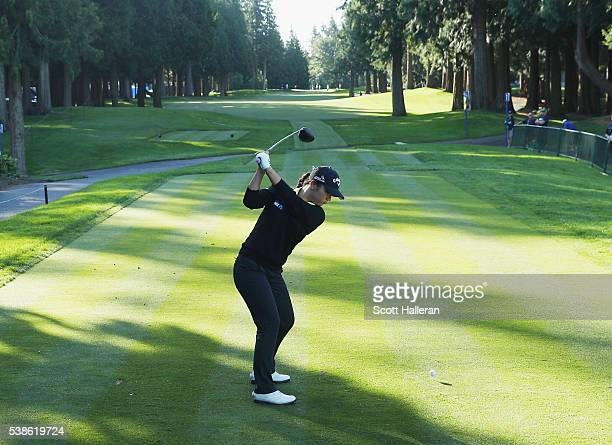 Lydia Ko of New Zealand hits a shot during the pro-am prior to the start of the KPMG Women's PGA Championship at the Sahalee Country Club on June 7,...