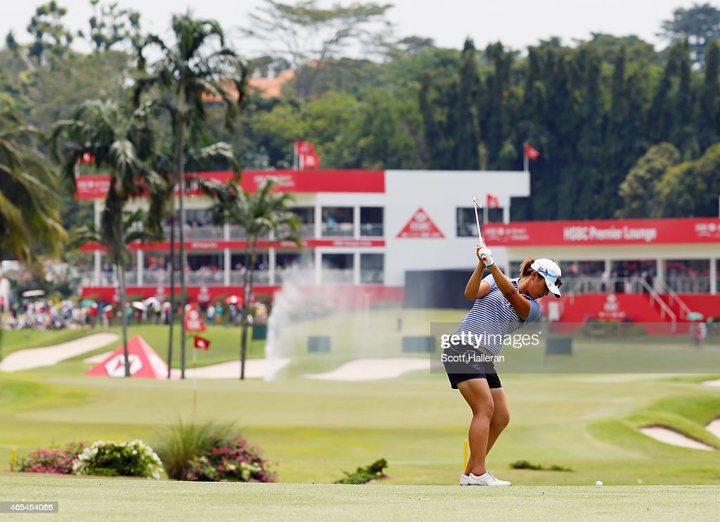 Lydia Ko of New Zealand hits her approach shot on the 16th hole during the third round of the HSBC Women's Champions at the Sentosa Golf Club on March 7, 2015 in Singapore, Singapore.