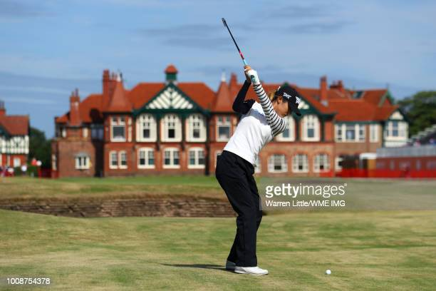 Lydia Ko of New Zealand hits her second shot on the 18th hole during a practice round ahead of the Ricoh Women's British Open at Royal Lytham St...