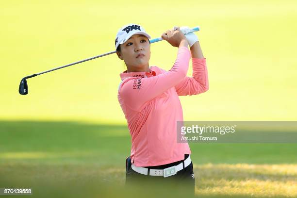 Lydia Ko of New Zealand hits her second shot on the 9th hole during the final round of the TOTO Japan Classics 2017 at the Taiheiyo Club Minori...