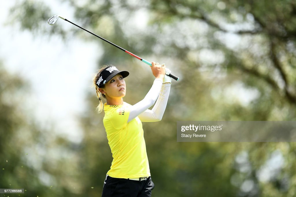 Lydia Ko of New Zealand hits her tee shot on the 12th hole during the final round of the Meijer LPGA Classic for Simply Give at Blythefield Country Club on June 17, 2018 in Grand Rapids, Michigan.