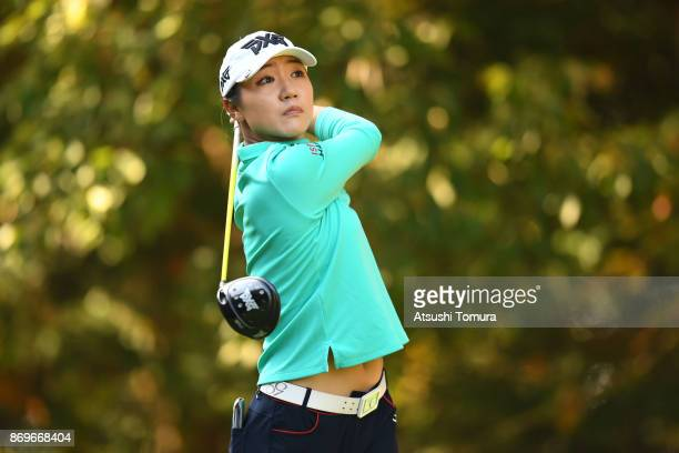 Lydia Ko of New Zealand hits her tee shot on the 2nd hole during the first round of the TOTO Japan Classics 2017 at the Taiheiyo Club Minori Course...