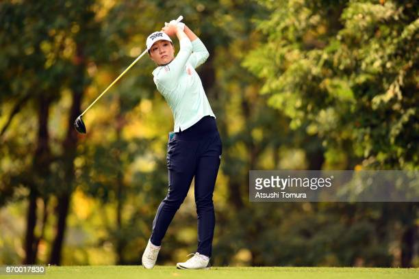 Lydia Ko of New Zealand hits her tee shot on the 2nd hole during the second round of the TOTO Japan Classics 2017 at the Taiheiyo Club Minori Course...
