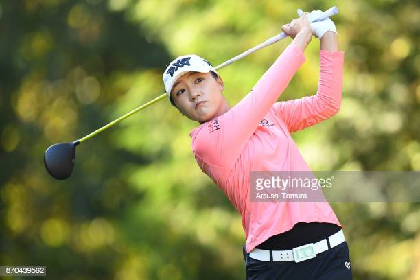 Lydia Ko of New Zealand hits her tee shot on the 2nd hole during the final round of the TOTO Japan Classics 2017 at the Taiheiyo Club Minori Course...