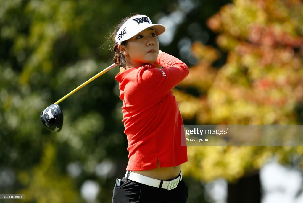 Lydia Ko of New Zealand hits her tee shot on the 9th hole during the second round of the Indy Women In Tech Championship-Presented By Guggenheim at the Brickyard Crossing Golf Course on September 8, 2017 in Indianapolis, Indiana.