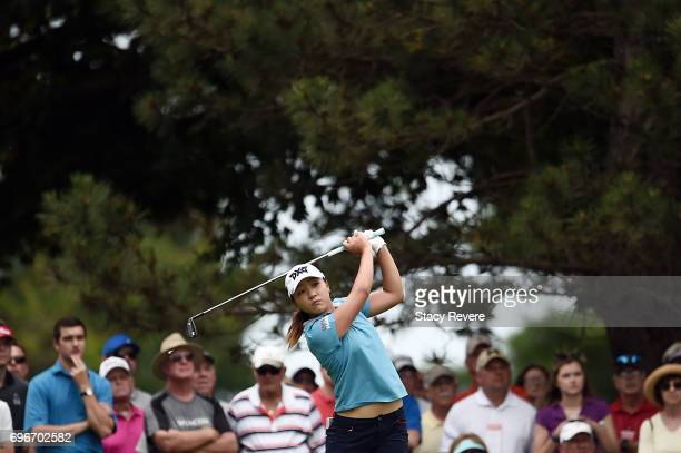 Lydia Ko of New Zealand hits her tee shot on the second hole during the second round of the Meijer LPGA Classic at Blythefield Country Club on June...