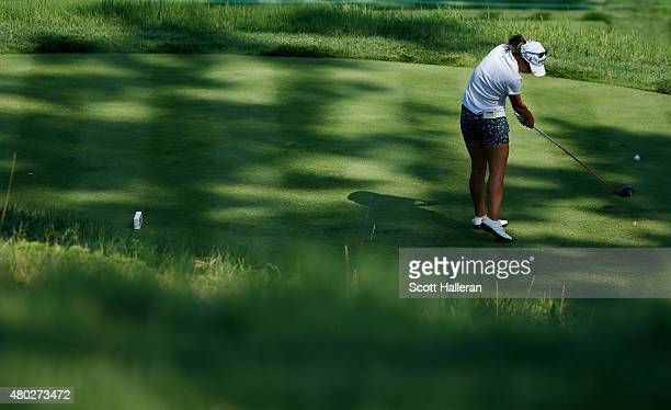 Lydia Ko of New Zealand hits her tee shot on the third hole during the second round of the US Women's Open at Lancaster Country Club on July 10 2015...